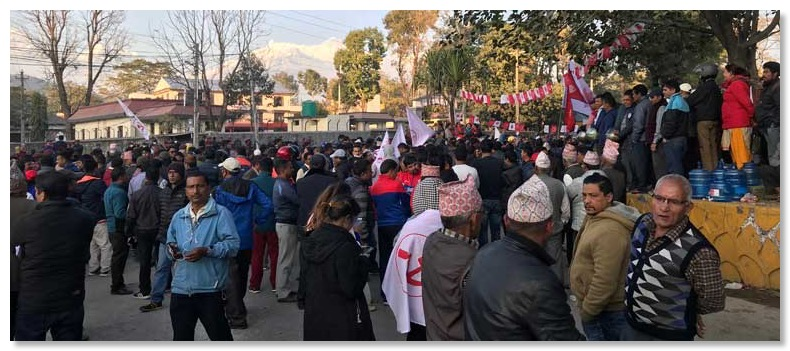 Crowds listening to election results in Pokhara