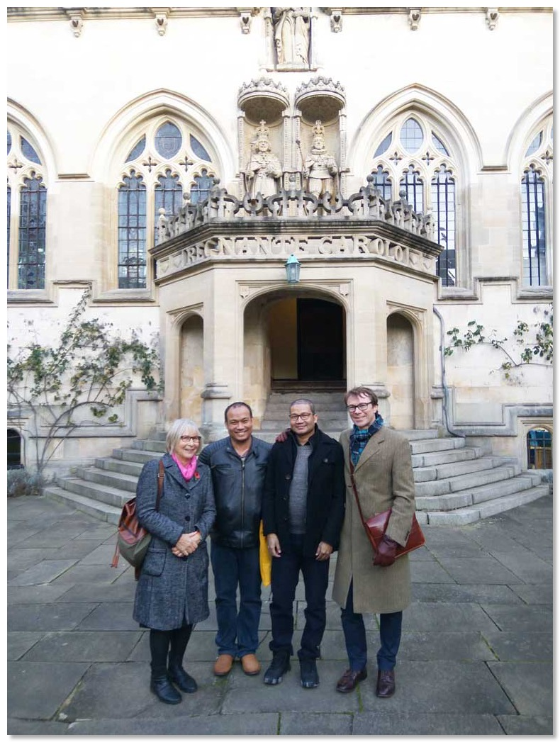Rosie and Tom Martin in Oxford with the two bursary recipients
